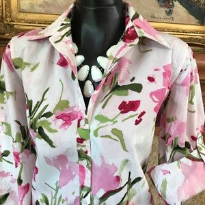 Rose Floral Print Top Pink & Green